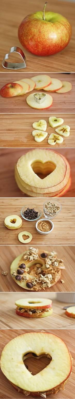 Sanduíche de maça com granola
