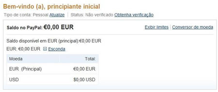 Area do utilizador no paypal