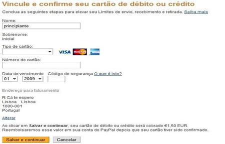 Paypal associar cartão de crédito ou debito