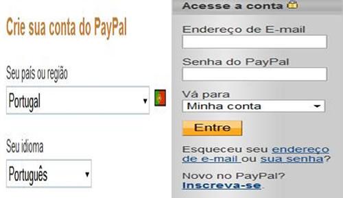 Aceder á conta paypal