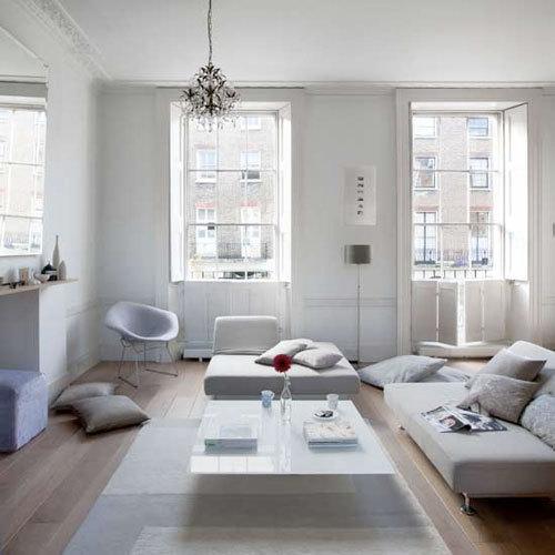 decorar sala branca:White Living Room
