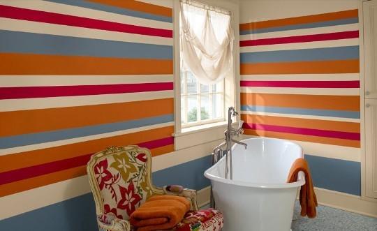 Cortinas De Baño Rayadas:Realçar as mobílias neutras com paredes coloridas