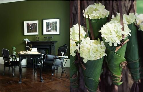 Parede verde com mobília escura